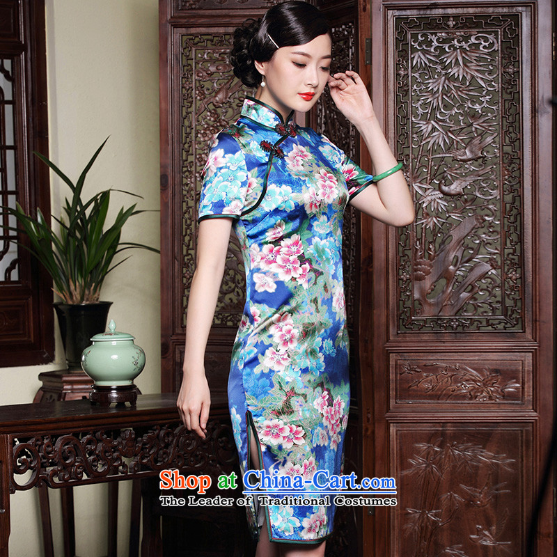 The seal of the original high-end heavy annual Silk Cheongsam traditional herbs extract short of improved dresses dress photo color?S