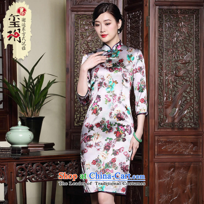 The fall of the seven Seal Sleeve heavyweight Silk Cheongsam disc hand improved retro President Dos Santos silk dress suit?XL 15-day pre-sale