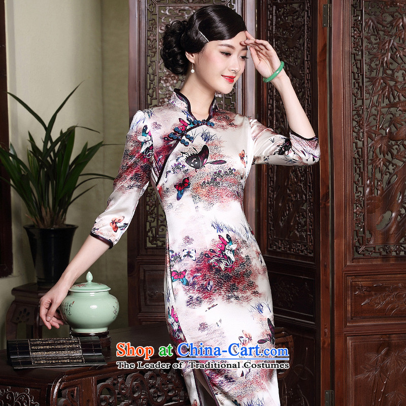 The fall of the new seal heavyweight Silk Cheongsam retro elegant improved open seven short-sleeved cheongsam dress photo color?XXXL