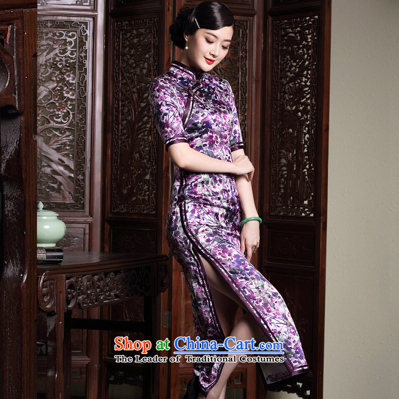 Seal of new Fall 2015 long silk cheongsam dress double insets Ms. retro in style qipao skirt picture color sleeves XXXL
