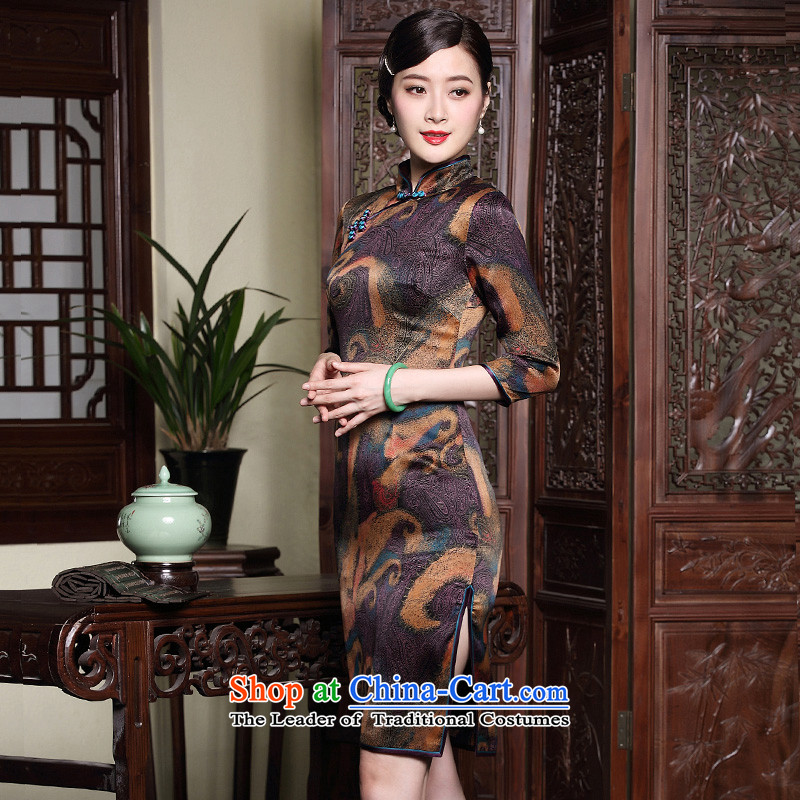 The fall of the new seal retro Silk Cheongsam cloud of incense yarn improved seven short-sleeved) Ms. Mama dresses map color?XXL