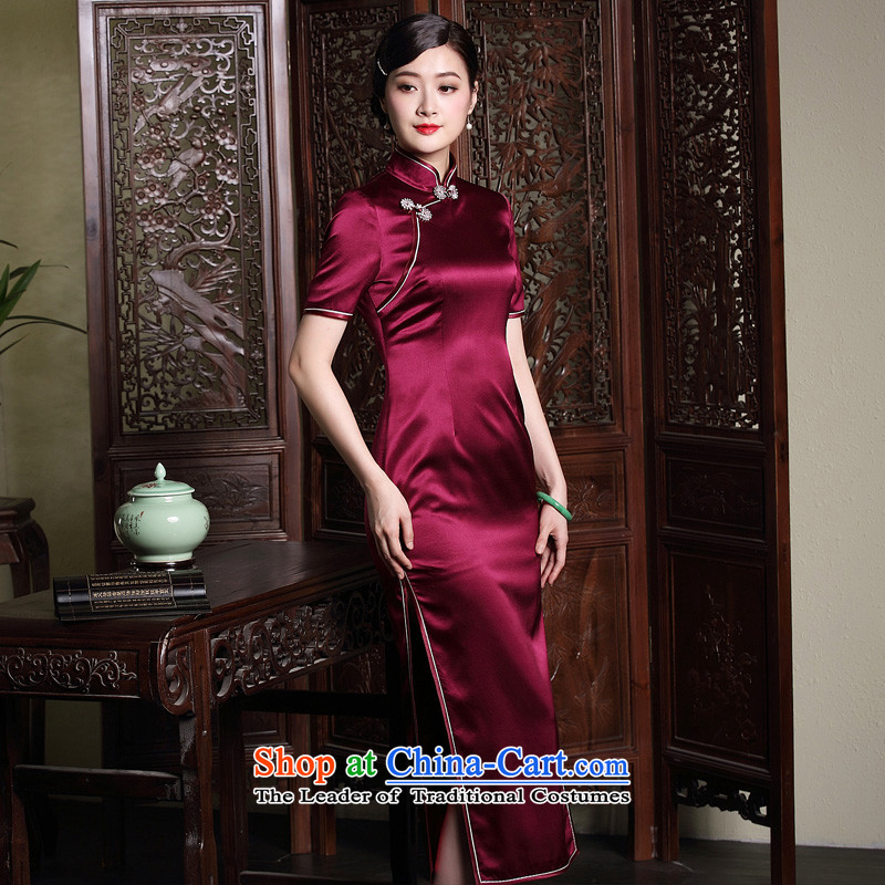 The fall of the new seal retro elegant qipao Ms. long silk tie improved dresses up Chinese dresses red?L