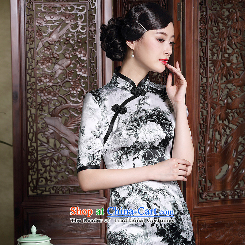 Seal of new autumn 2015 heavyweight Silk Cheongsam retro in cuff ink stamp improved retro dresses picture color?M
