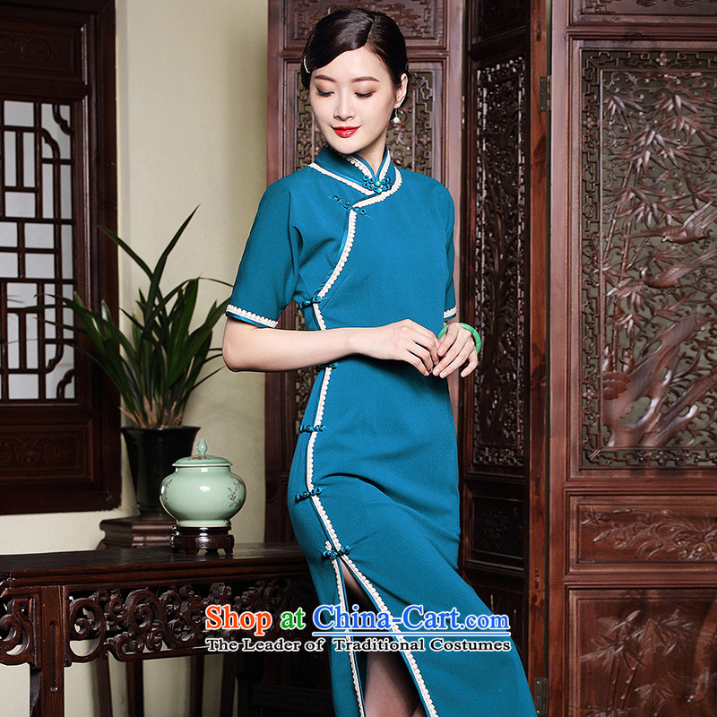 The seal of the autumn and winter 2015 new improvement in high-The forklift truck in elegant qipao retro Ms. cuff dresses blue?L