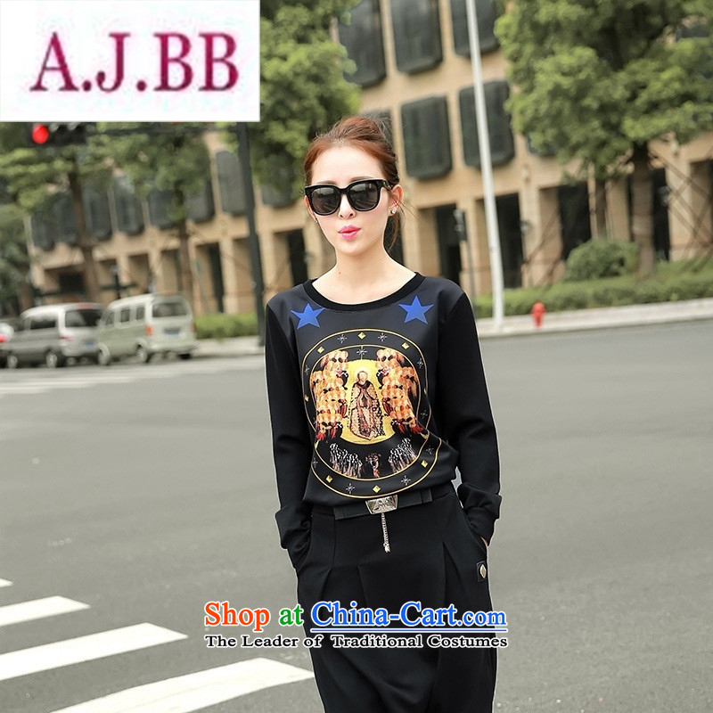 Ms Rebecca Pun stylish shops 2015 autumn and winter Korean female New Low round-neck collar long-sleeved T-shirt, forming the stamp sweater Black燲L