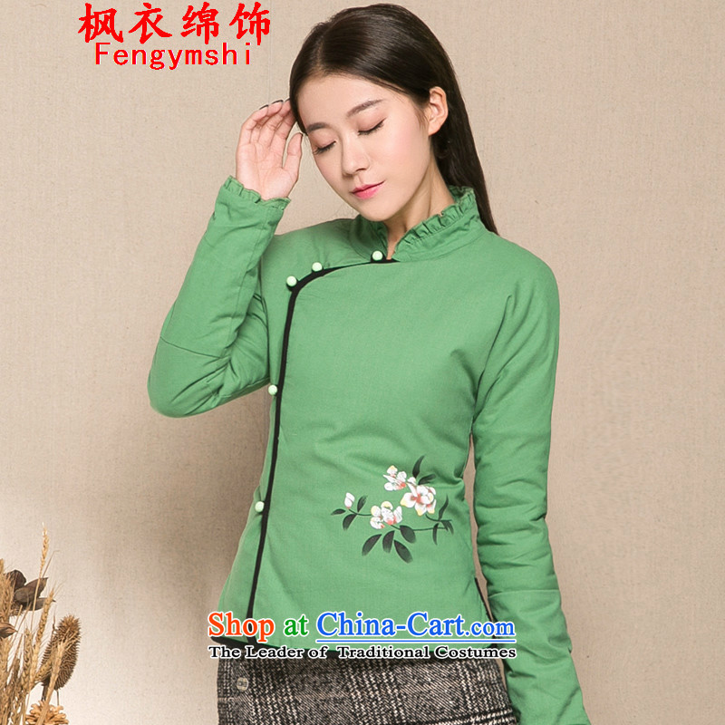 Maple Yi Min International 2015 new ethnic women winter jackets cotton linen hand painted Chinese Wind cotton shirt Z1286 cotton coat female green燲L