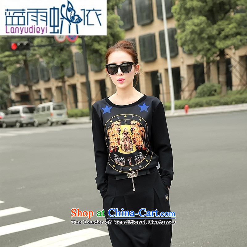 Ya-ting shop 2015 autumn and winter Korean female New Low round-neck collar long-sleeved T-shirt, forming the stamp sweater black燣