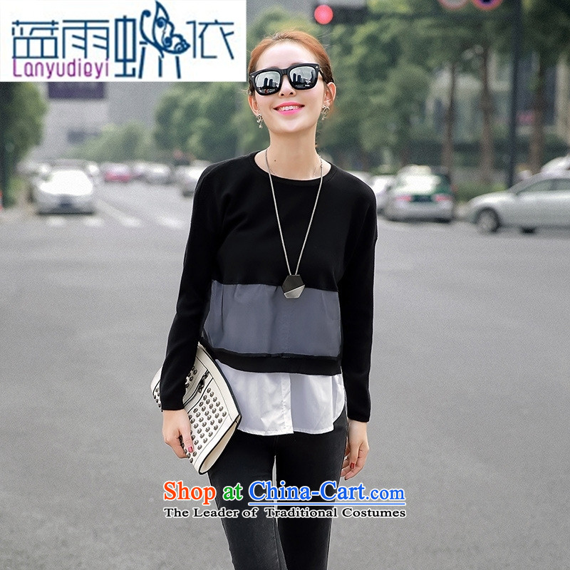 Ya-ting Shop Boxed new autumn 2015 Korean female round-neck collar long-sleeved stitching female T-shirt gauze shirt white are code