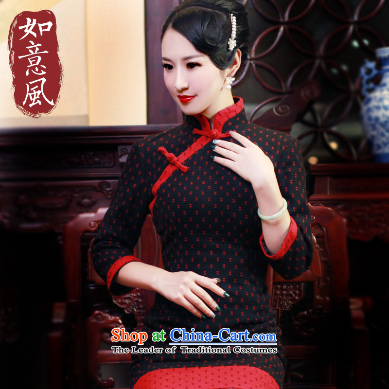 After a wind of autumn and winter new products new women's Mock-neck retro long-sleeved qipao gross Sau San? 6013 6013 skirt suits燣