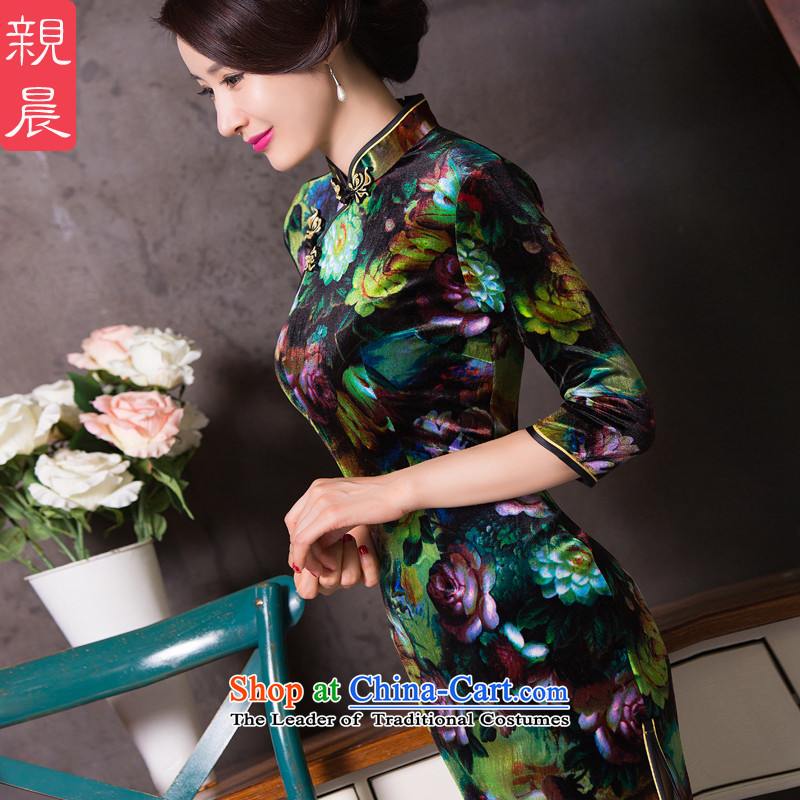 The wedding-dress wedding autumn 2015 New Sau San Kim scouring pads cheongsam dress in mother older dresses, color picture?L