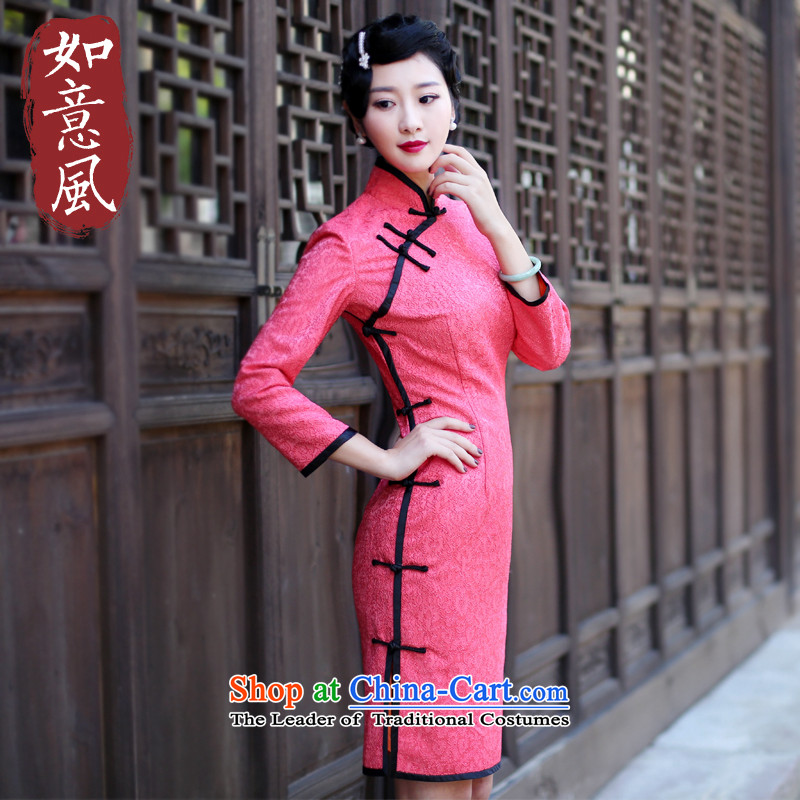After the fall of 2015, the new wind Stylish retro improved long of the forklift truck Sau San dress dresses qipao 6028 EDK-60 Screwdriver 6028 EDK-60 Screwdriver Red?L
