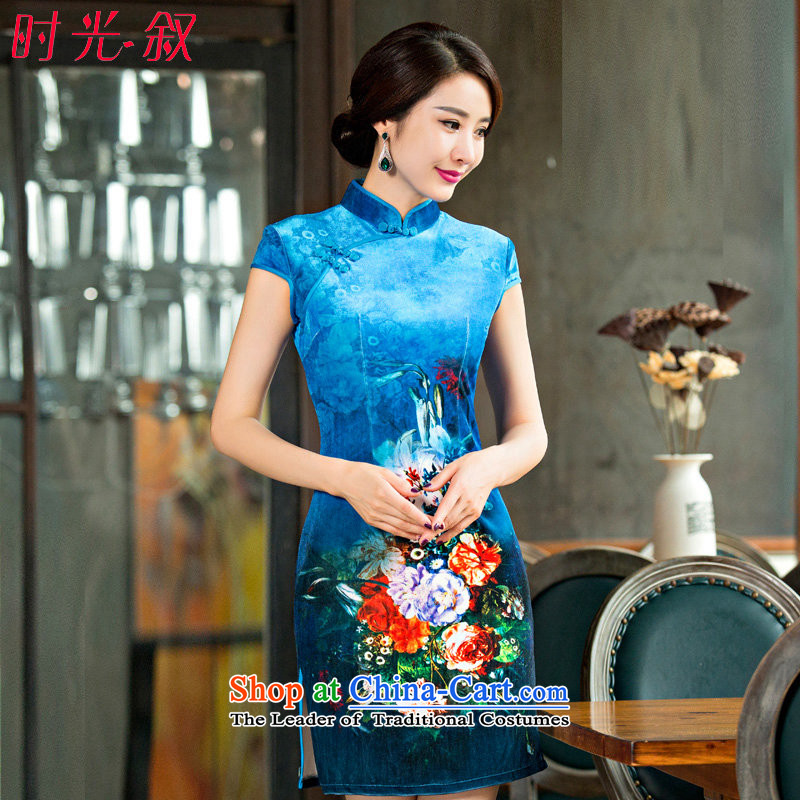 The Syrian Arab Republic? 2015 Autumn time new improved sexy Mudan stylish republic of korea, short skirt daily qipao stage qipao Sau San light blue?S