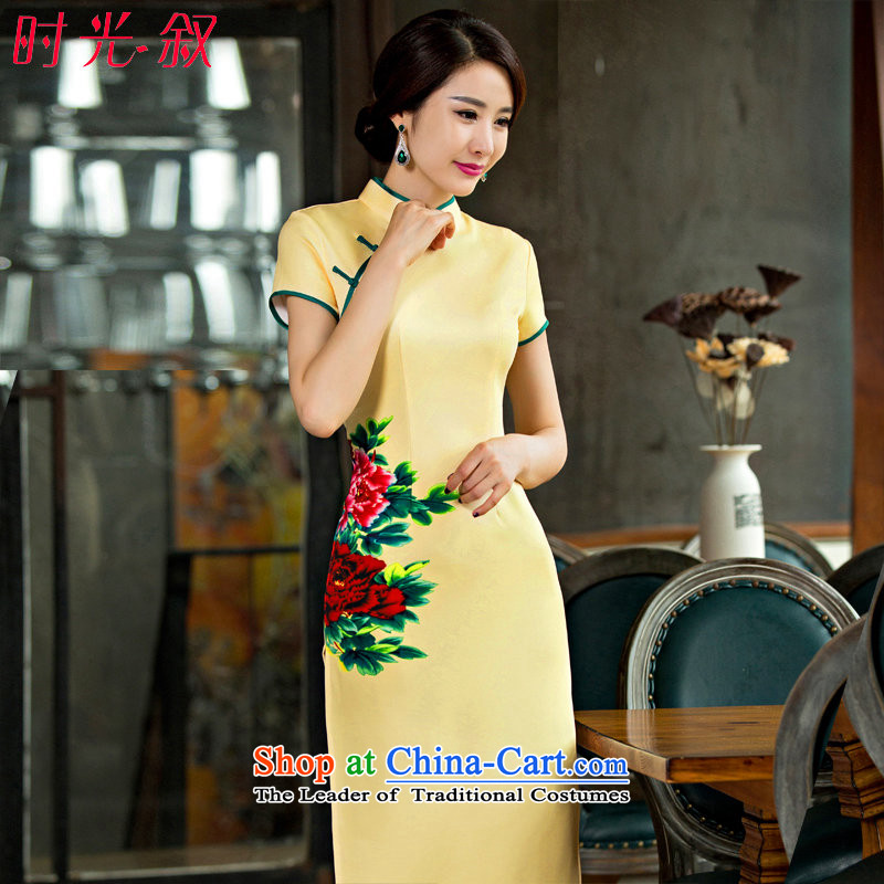 The Syrian Arab Republic? 2015 Autumn load time new retro style qipao yellow strain improvement of the forklift truck Sau San long skirt female Yellow?XL Cheongsam