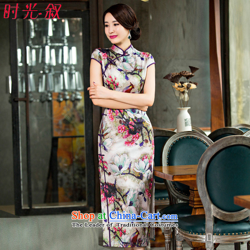 The Syrian Arab Republic? 2015 Autumn time new larger cheongsam long improved graphics thin, short-sleeved Sau San long cheongsam dress dress photo color?S