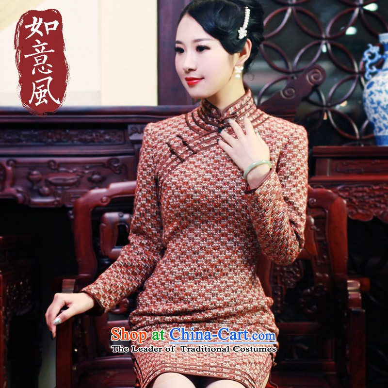 After a 2015 Fall_Winter Collections in the new Republic of Korea wind daily retro improved gross? long-sleeved cheongsam dress 6005 6006 orange?M