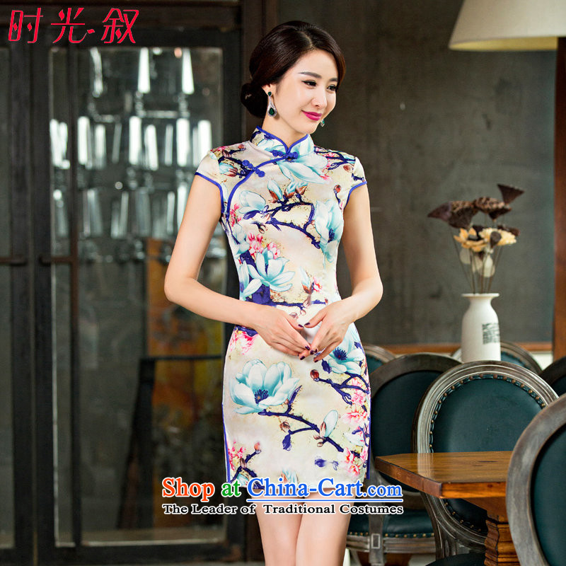 The Syrian Arab Republic during the spring and autumn new time improved daily cheongsam dress sense of bows Sau San temperament and slender, video cheongsam dress photo color XXL