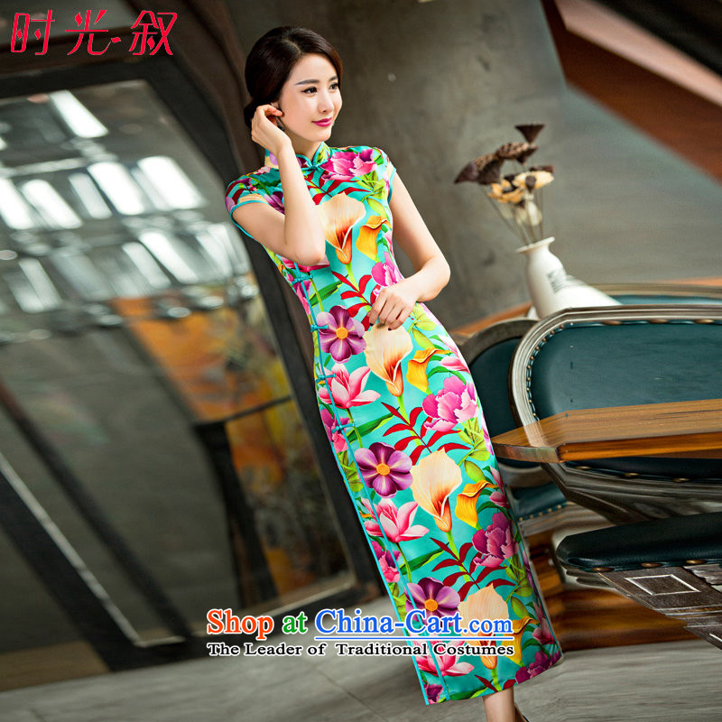 Time the? new improved 2015 Syria cheongsam dress the hoofs of Lin short-sleeved long cheongsam dress qipao pictures arena banquet color?XL