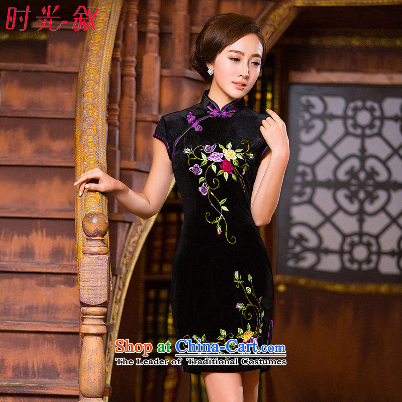 Time Syrian embroidery cheongsam dress autumn load velvet mother short-sleeved improved stylish wedding-day autumn retro fitted qipao black?L