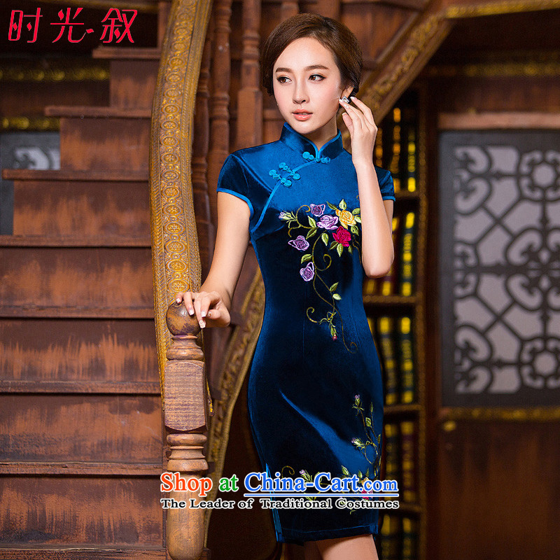 Time Syrian embroidery cheongsam dress autumn load velvet mother blue short-sleeve Stylish retro improved wedding-day fall inside the blue qipao?XXL