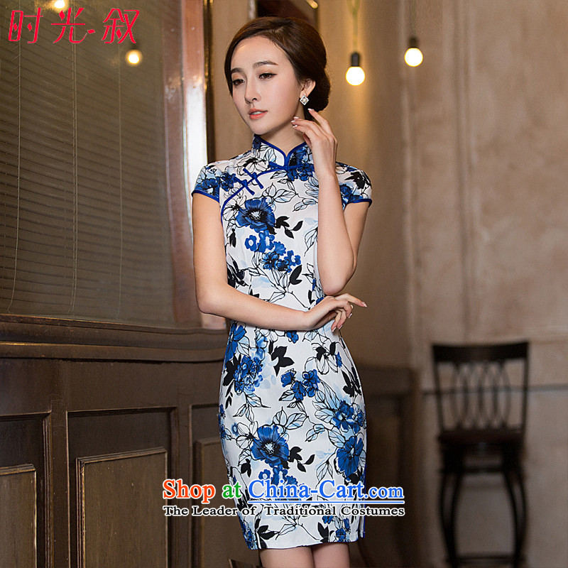 Time?  stylish autumn 2015 Syria improved daily porcelain elegant floral ramp up retro Sau San dresses qipao short image color?M
