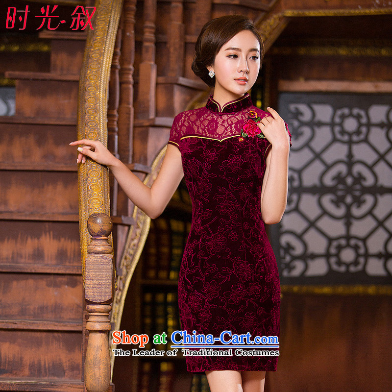The Syrian Arab Republic during the spring and autumn short of time scouring pads lace floral wine red annual meeting of persons chairing the banquet evening dress qipao married women will replace mother wine red燤