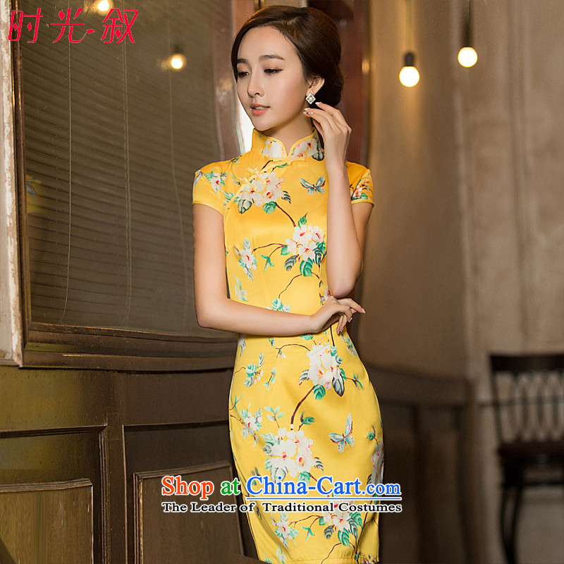 Time the? new 2015 Syria wedding dress bride bows services under the auspices of qipao performances show division scanner welcome qipao autumn Yellow?XL