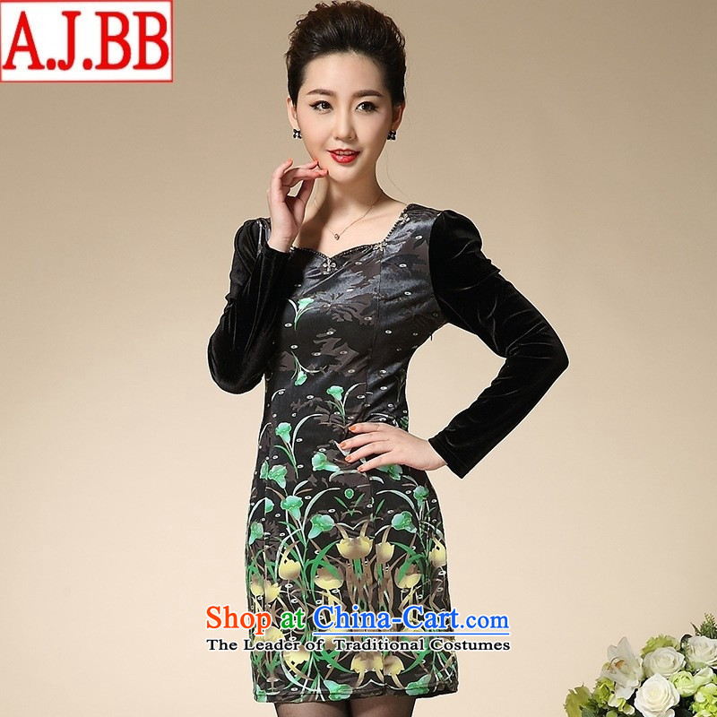 The Black Butterfly autumn 2015 middle-aged moms who are large long-sleeved gray velour Kim dress in long green燲L