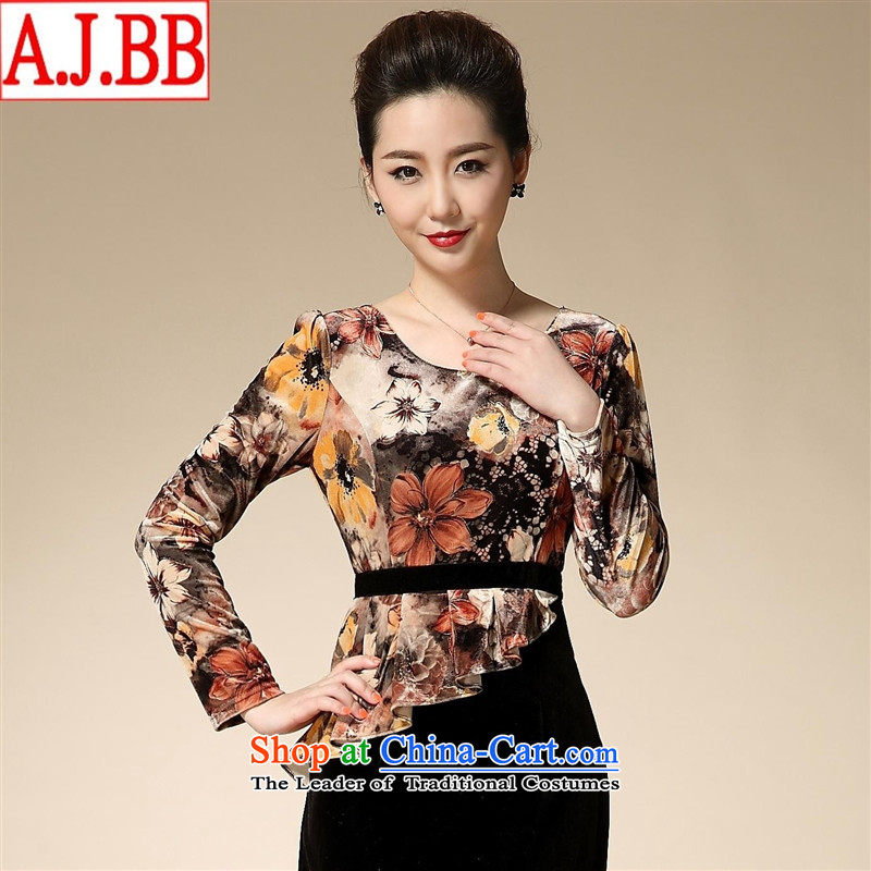 The Black Butterfly 2015 new moms with pockets of wool and video thin Sau San long-sleeved temperament larger dresses direct consumer yellow燲XL