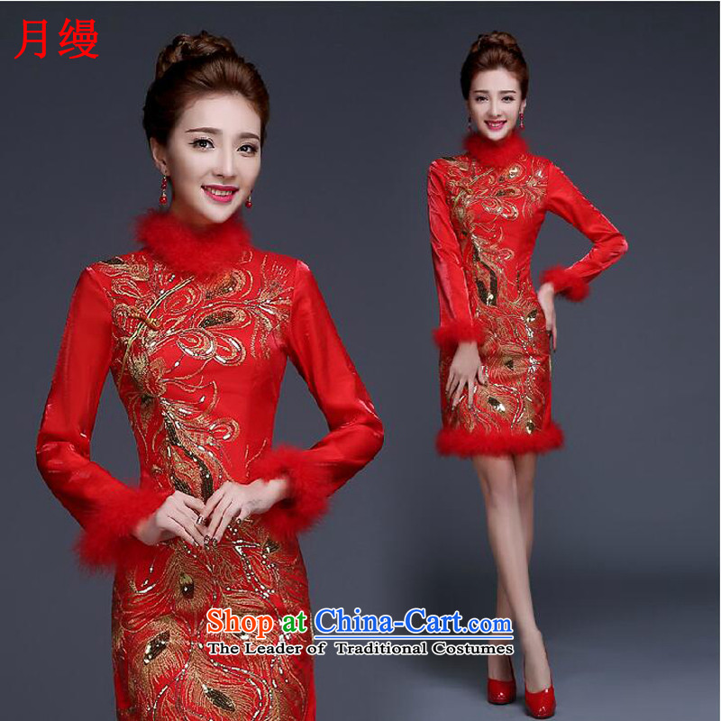 The following new paragraph on 2015 winter red bride Wedding Dress Short thin, Sau San graphics plus lint-free package services?B, bows qipao thick,?L