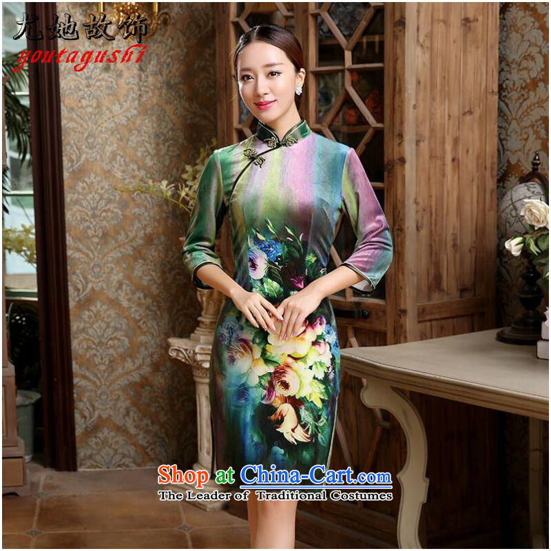 She was particularly international women's dresses CHINESE CHEONGSAM Kim scouring pads 7 improved long-sleeved qipao bows services such as marriage map color燣