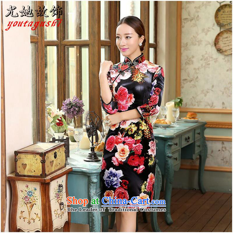 She was particularly international women's dresses CHINESE CHEONGSAM improved Kim scouring pads Mock-neck wedding dresses Figure Color燬