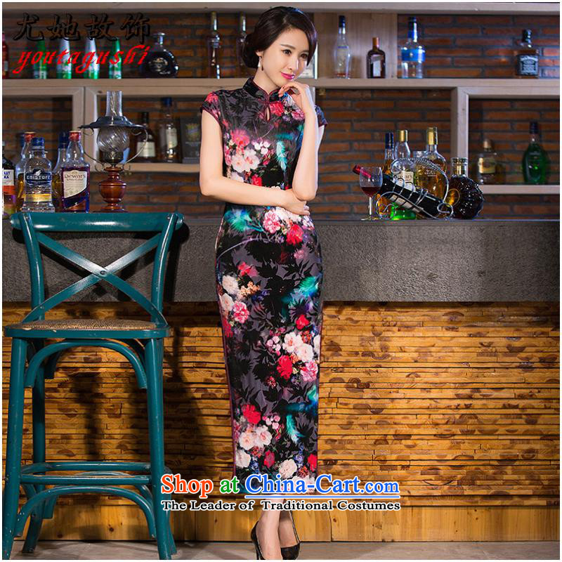 She was particularly international women's elegant Chinese Robes velvet flag   improved long stretch qipao Sau San China wind collar antique dresses qipao Figure Color?XL