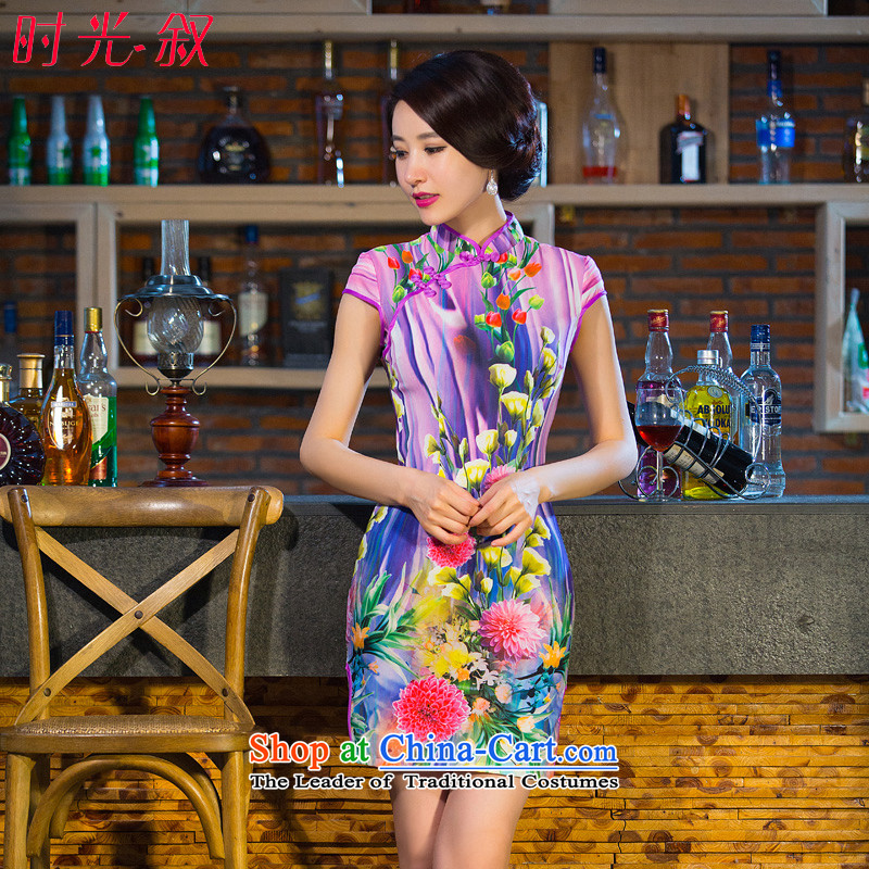 Time Syrian cheongsam dress autumn 2015 new boxed daily improved retro style qipao, Sau San short skirt female picture color燲L