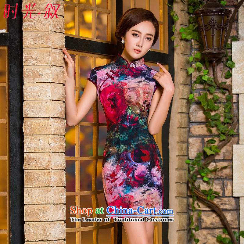 Time-to-day qipao color paintings Syrian Chinese stamp retro fitted sleek improvements autumn Ms. cheongsam dress short cheongsam picture color temperament聽XL