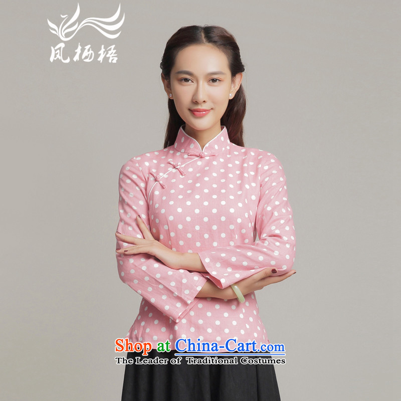 Load the autumn Fung migratory 7475 new cotton linen Tang blouses retro elegant Chinese qipao wave point long-sleeved T-shirt DQ15221 pink?XL