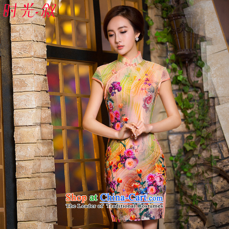 Time-to-day qipao 2015 Syria new spring and autumn replacing Stylish retro short of improved Sau San cheongsam dress paintings picture color?XL