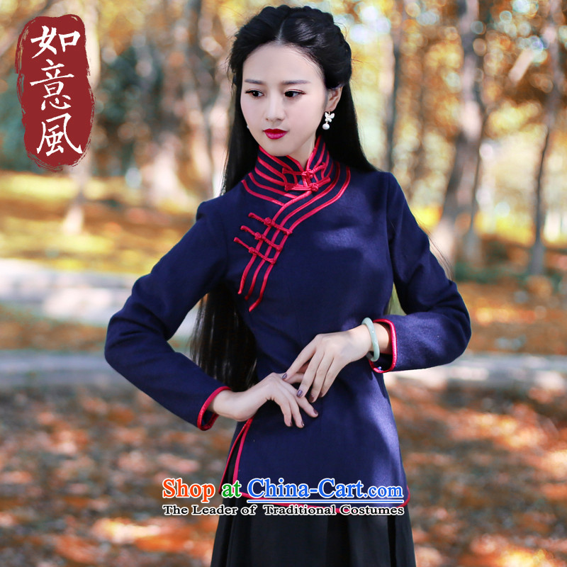 After a day of Tang Dynasty Winter 2015 wind, solid color and improved service Chinese wool tops vocational trainees vocational trainees qipao long-sleeved blue?L