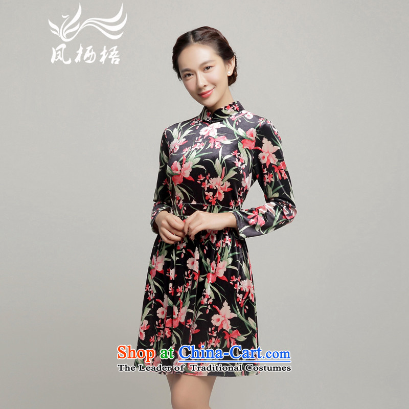 Load the autumn Fung migratory 7475 skirt daily?New Qipao) scouring pads cheongsam dress DQ15222 long-sleeved suit?L