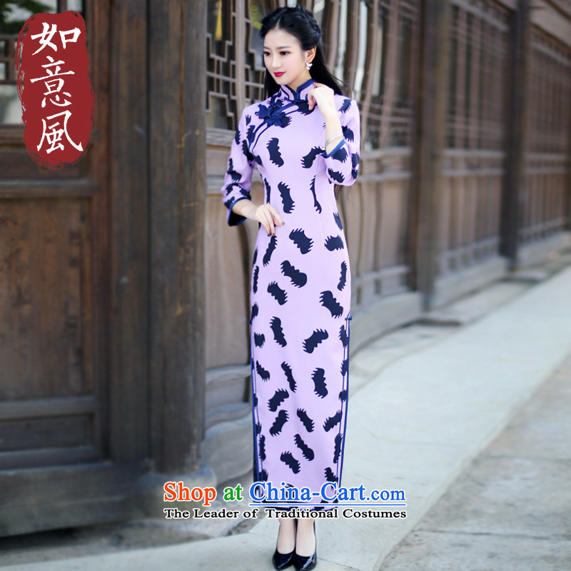 After the fall of 2015, the wind of nostalgia for the improvement of the forklift truck in the Republic of Korea high long qipao female long-sleeved dresses 6093 6093 suit?XXL