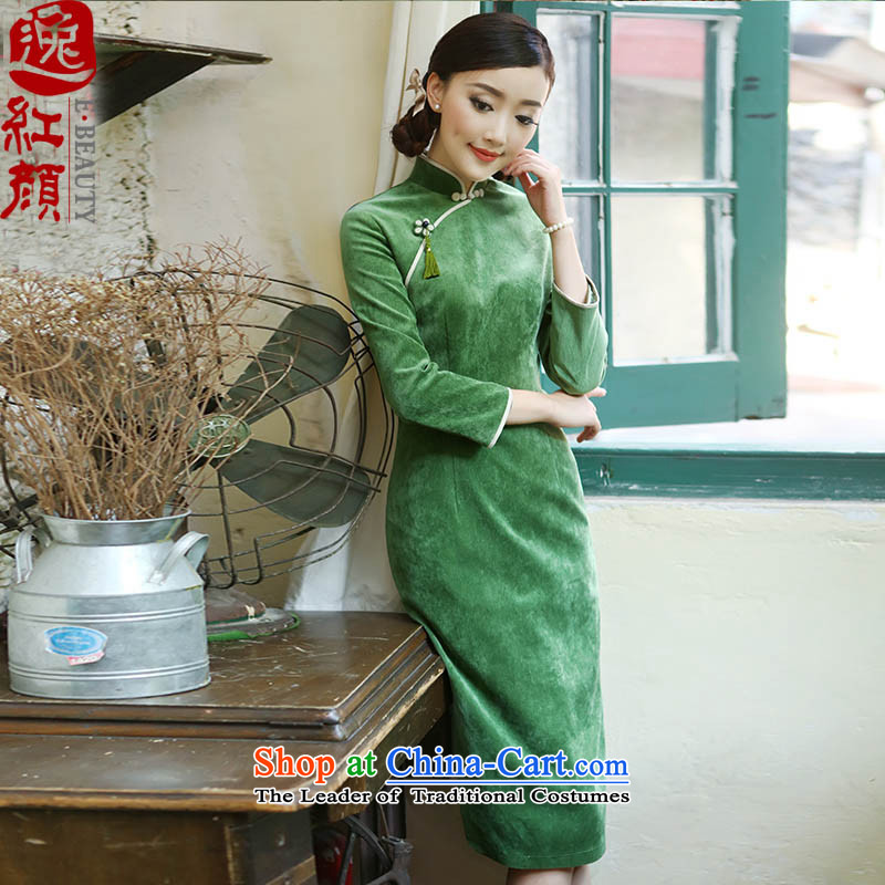 A Pinwheel Without Wind dumping autumn Yat seven long-sleeved corduroy qipao?2015 autumn and winter new products retro improved cheongsam dress songbai green?M