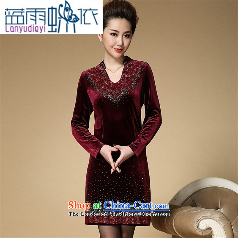 September Girl Store autumn and winter mother dresses of the middle-aged iron drill Sau San Kim velvet in older women's larger skirts?XXXL Purple