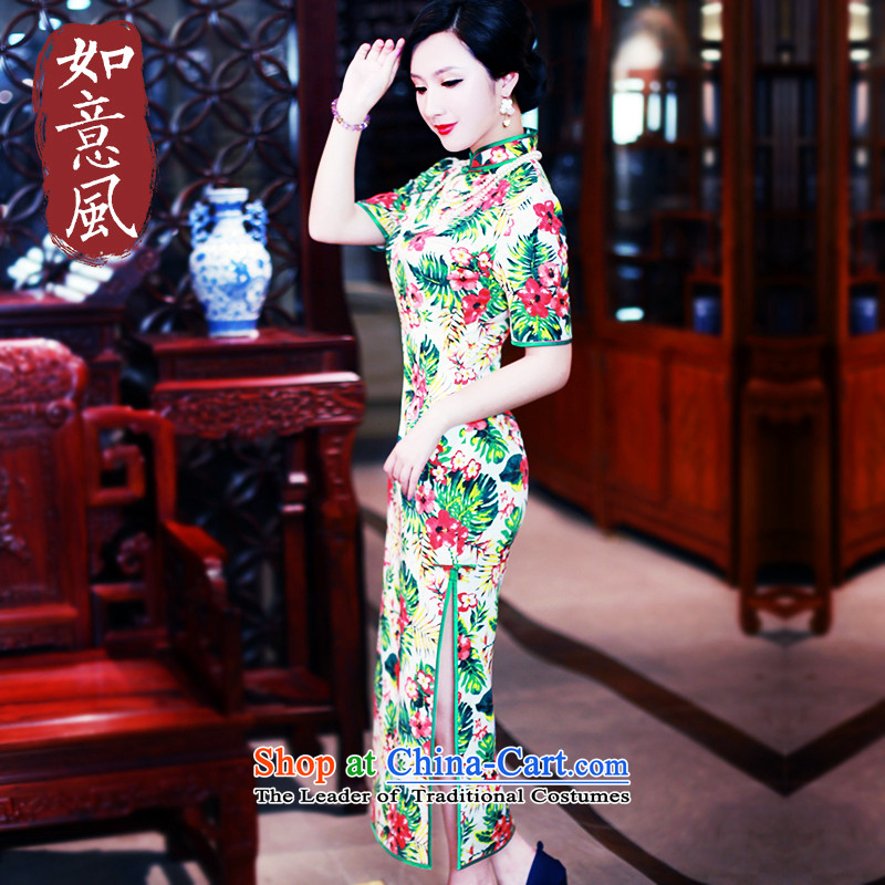 After the fall of 2015, the Wind new long high in the forklift truck cuff sexy qipao retro improved long cheongsam dress 5415 5415 suit聽XXL