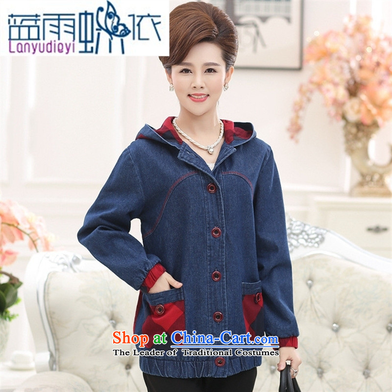 September 2015 Autumn Girl Store new elderly women autumn and winter jackets MOM pack large middle-aged cowboy HOODIE聽XXXL color picture