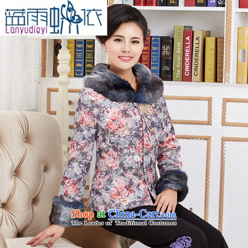 September female shop women Fall/Winter Collections in cotton coat older Tang dynasty ?t��a robe mother with T-shirt style classical gray?M