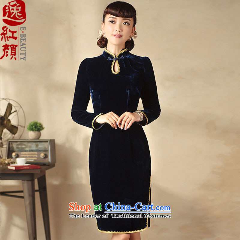 The First Lady of�15 Yat Chu new product of nostalgia for the improvement of ethnic lace side long-sleeved velvet cheongsam dress blue燣