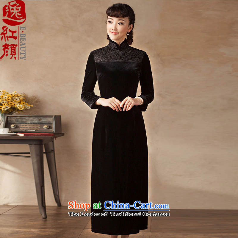 A Pinwheel Without Wind book Road, IL 2015 Autumn New Product retro lace nails pearl improved long long-sleeved velvet elegant black S