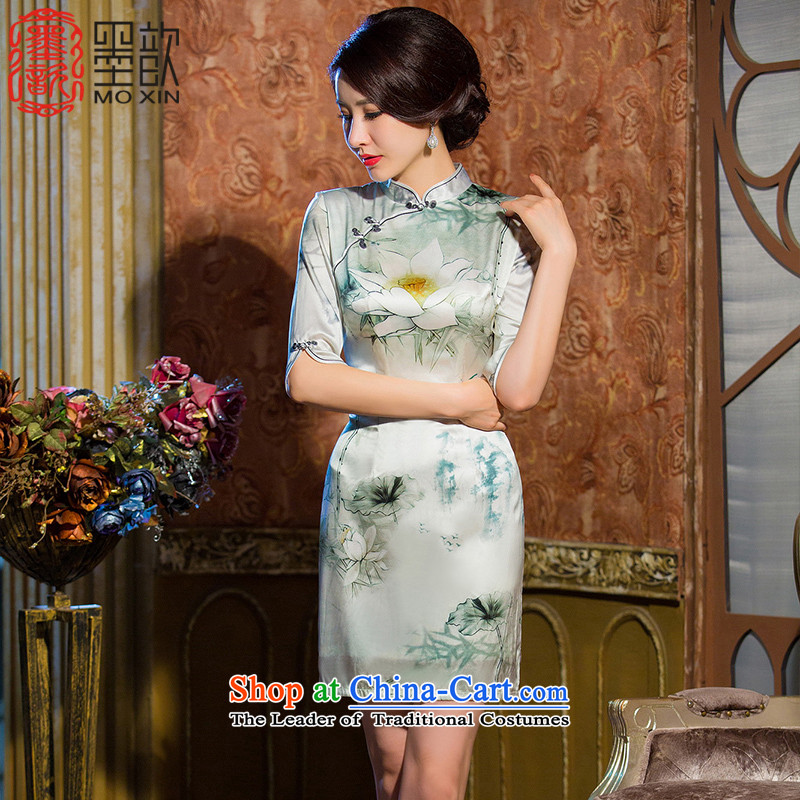 The white lotus retro ? heavyweight Silk Cheongsam autumn new) cuff herbs extract qipao cheongsam dress improved dresses�HY670 Ms.�White�XL
