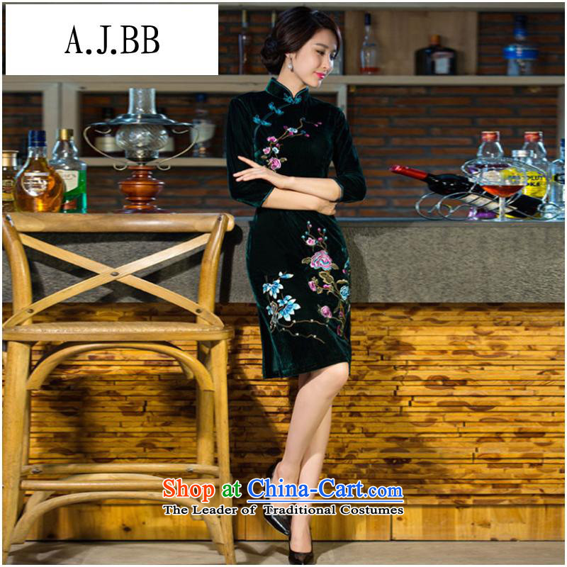 September clothes shops * 2015 autumn and winter new moms with scouring pads in the skirt qipao Kim sleeve length) Improved retro wedding dresses #9038 Army green L
