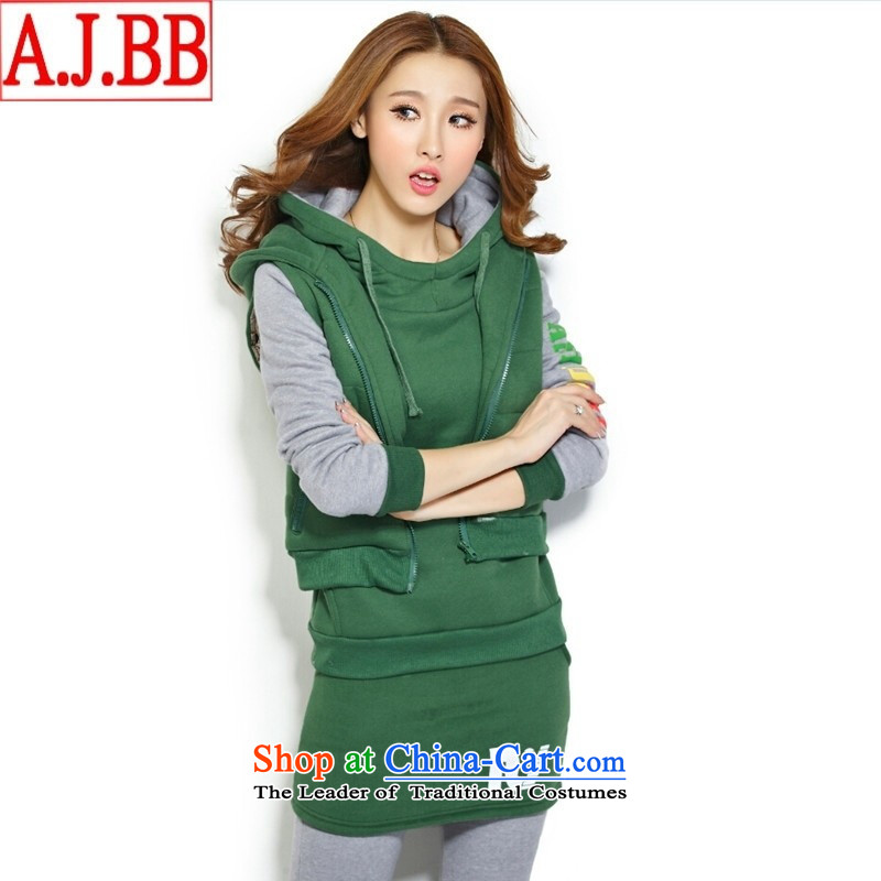 The Black Butterfly 95538_2015 autumn and winter load new Korean spelling color small skirts and thick wool sweater kits female blue燲XL
