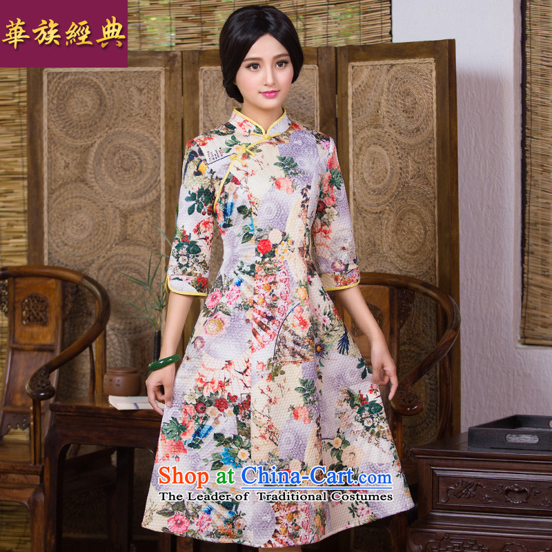 China-style, improved daily Classic Sleeve cheongsam dress female autumn and winter in Chinese Antique qipao decorated skirt suits燣